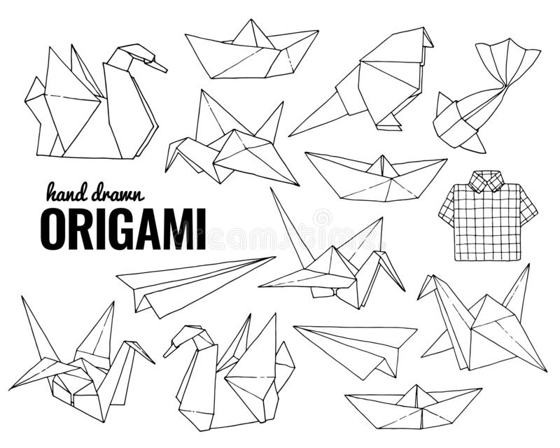 Origami hand drawn vector set, folder paper art animals shapes. Isolated on white background vector illustration