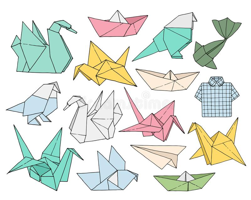 Origami hand drawn vector set, folder paper art color animals, birds, boats, planes shapes. Isolated on white background stock illustration