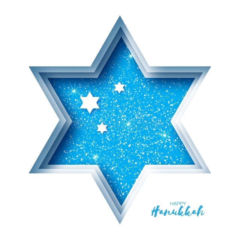 Origami Happy Hanukkah Greeting card on blue. Hanuka jewish illustration.David star.j Happy holidays. Vector vector illustration