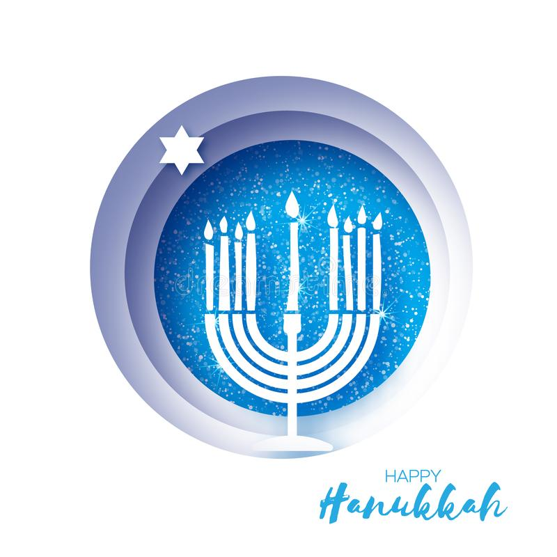 Origami Happy Hanukkah Greeting card on blue. Hanuka jewish illustration. jewish menorah. Hanuka candles symbol in paper. Cut style. Happy holidays. Vector vector illustration