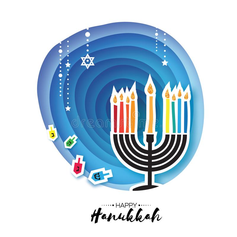 Origami Happy Hanukkah. Greeting card for the Jewish holiday. Menorah traditional candelabra and burning candles. Hanukkah dreidel with letters of the Hebrew royalty free illustration