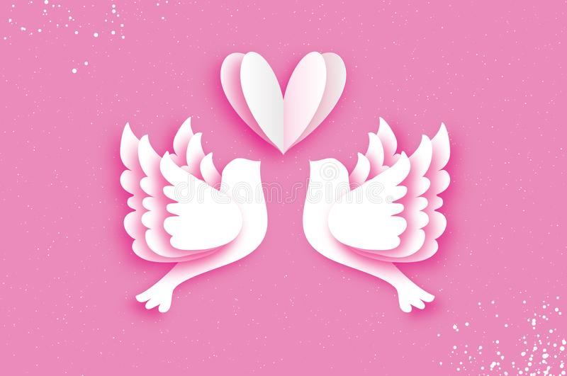 Origami Happy Valentine`s day greeting card. Flying Love Birds in paper cut style. A couple of doves in loving. Romantic. White heart. Two white pigeons kissing royalty free illustration