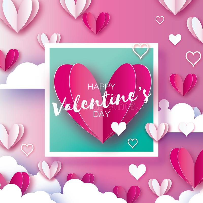 Origami Happy Valentine`s day Greetings card. Flying Love White and Pink Hearts, Angel wings in paper cut style vector illustration