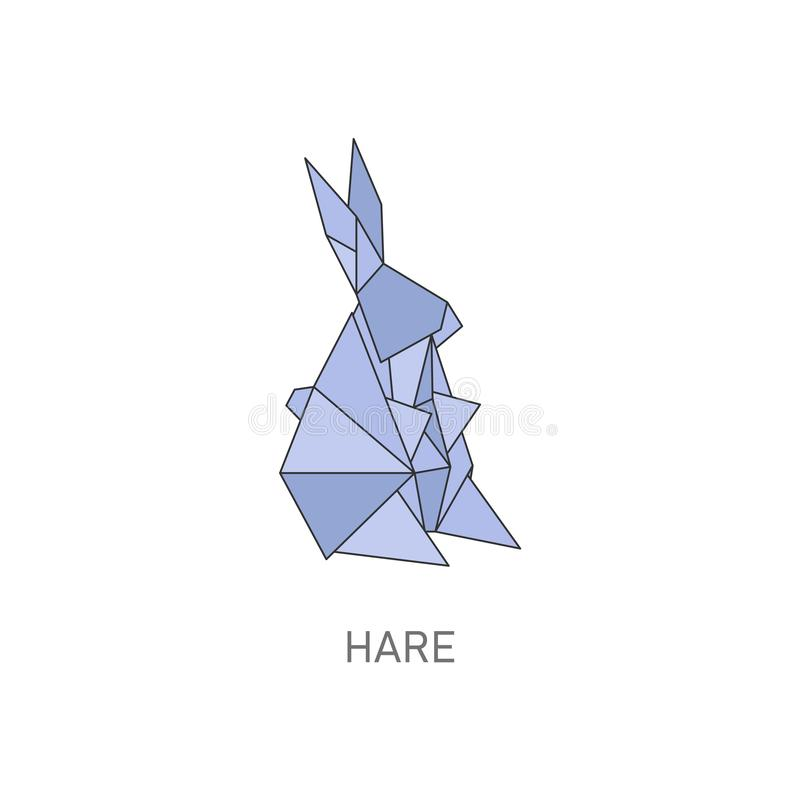 Origami hare art, cute blue rabbit folded from paper stock illustration