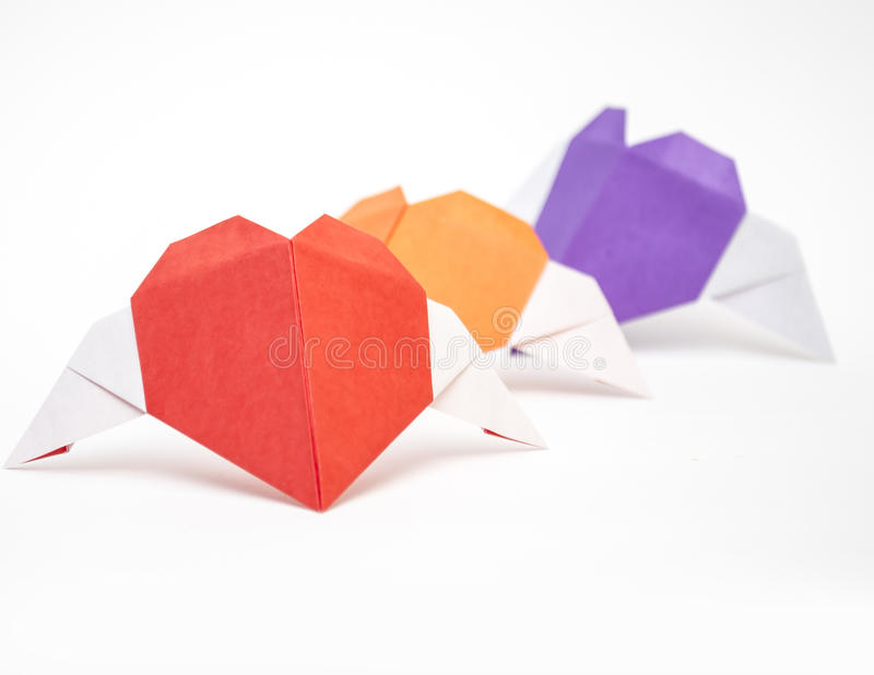 Origami Heart Shape With Wings Stock Photo Image Of Present