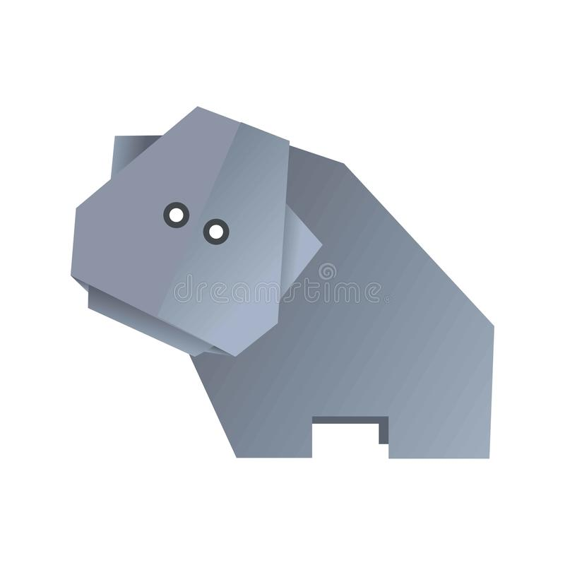 Origami hippo animal isolated on white vector illustration royalty free illustration