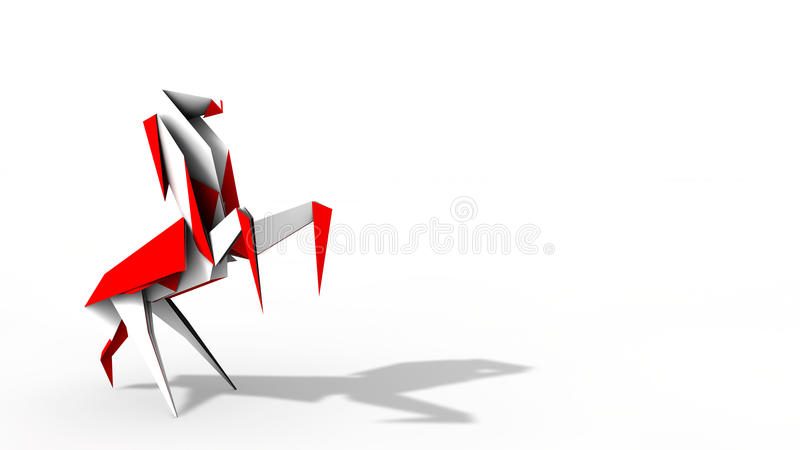 Origami Horse In Red And White Royalty Free Stock Photo