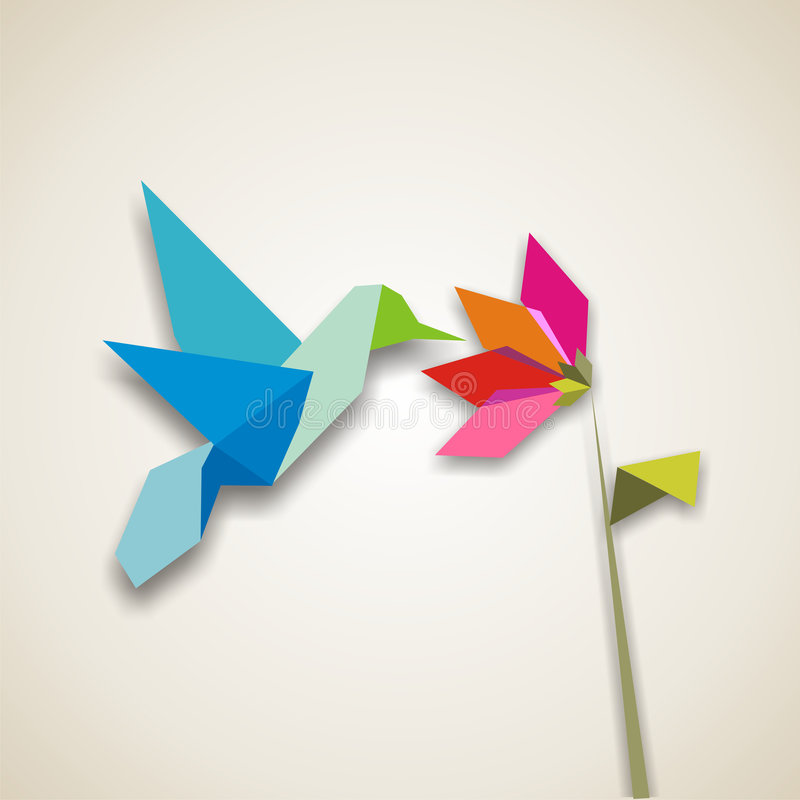 Origami hummingbird. Origami pastel colors hummingbird. Vector file available vector illustration