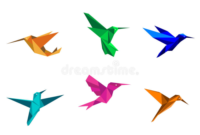 Origami hummingbirds. Colorful hummingbirds in origami paper style on white background royalty free illustration