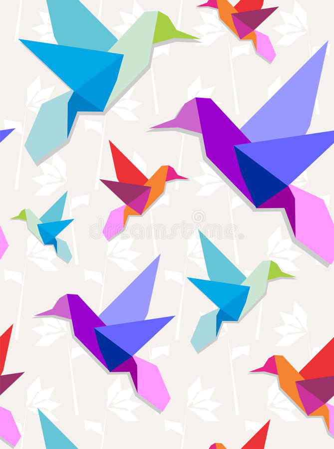 Origami hummingbirds pattern background. Pastel colors origami hummingbirds seamless pattern background stock illustration
