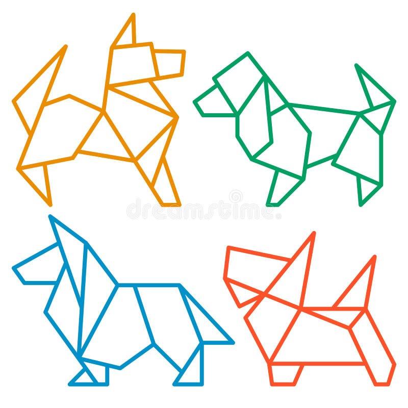 Origami-Hundeikone stellte 3 ein vektor abbildung