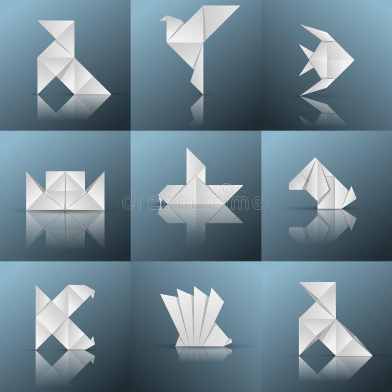 Origami icon. Ship. pajarita, pigeon, fish, piranha, ship, dog,. Paper style icon on the grey background vector illustration