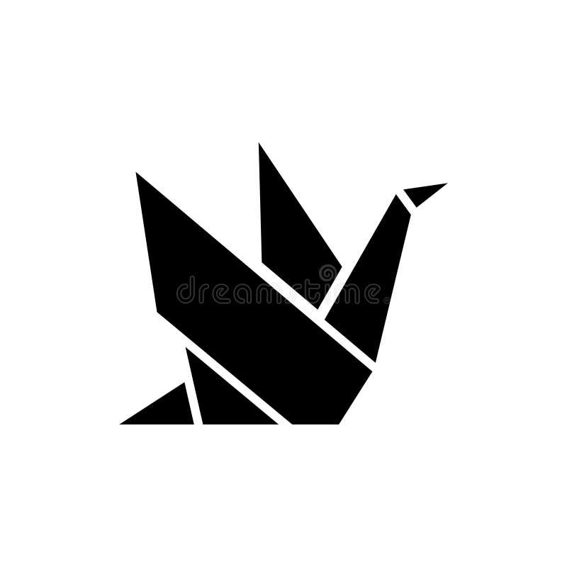 Origami icon, vector illustration, black sign on isolated background stock illustration