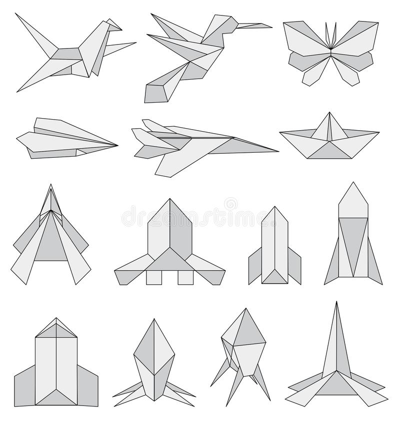 Origami icons set vector illustration