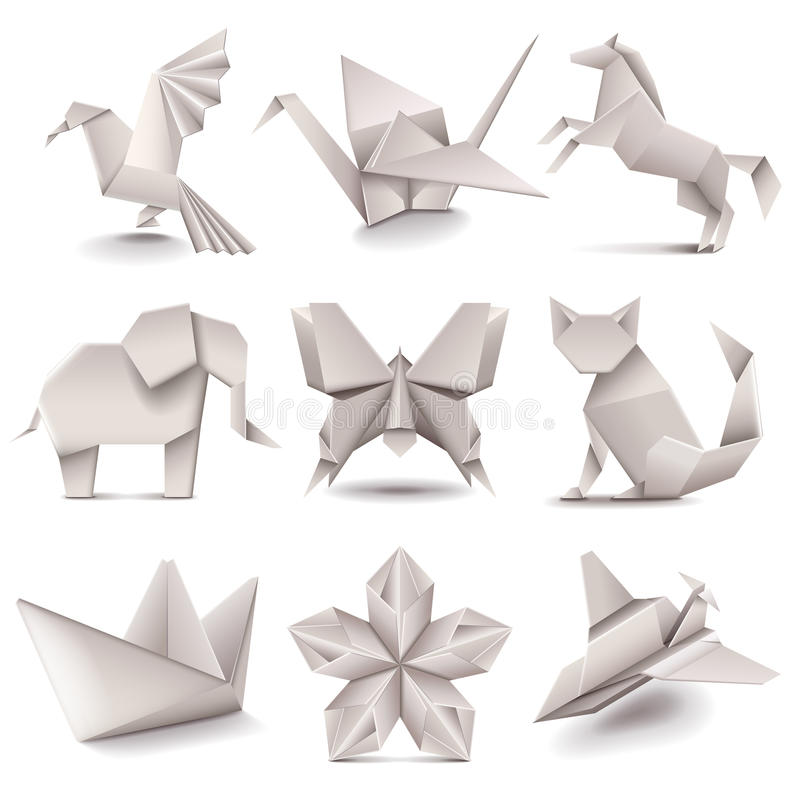 Origami icons vector set. Origami icons detailed photo realistic vector set royalty free illustration