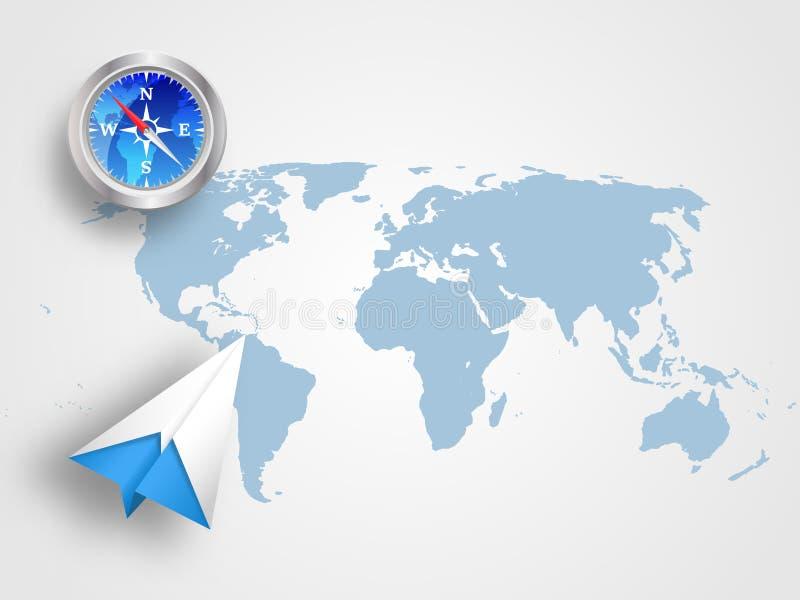 Origami kompas na światowej mapie jako tło i samolot reprezentujemy pojęcie podróż, transport, podróż i globalny łączy royalty ilustracja