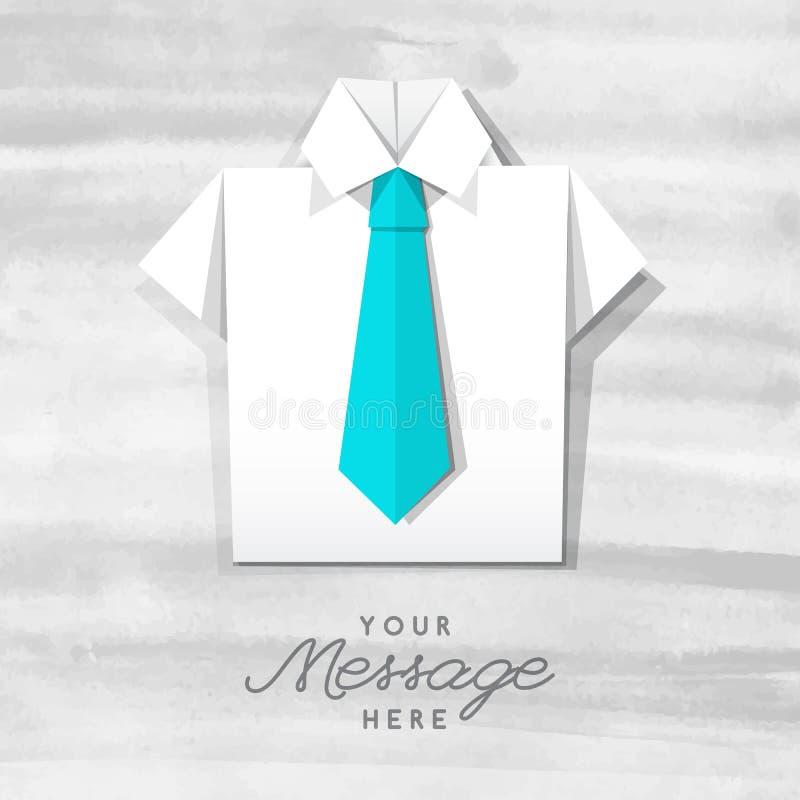Origami koszula z krawatem royalty ilustracja