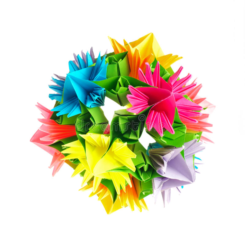 Origami kusudama flower royalty free stock image