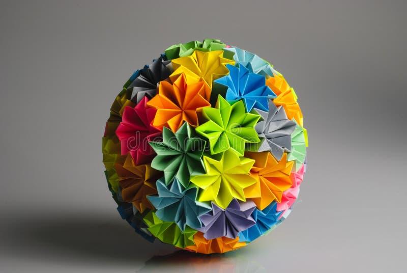 Origami kusudama rainbow royalty free stock image