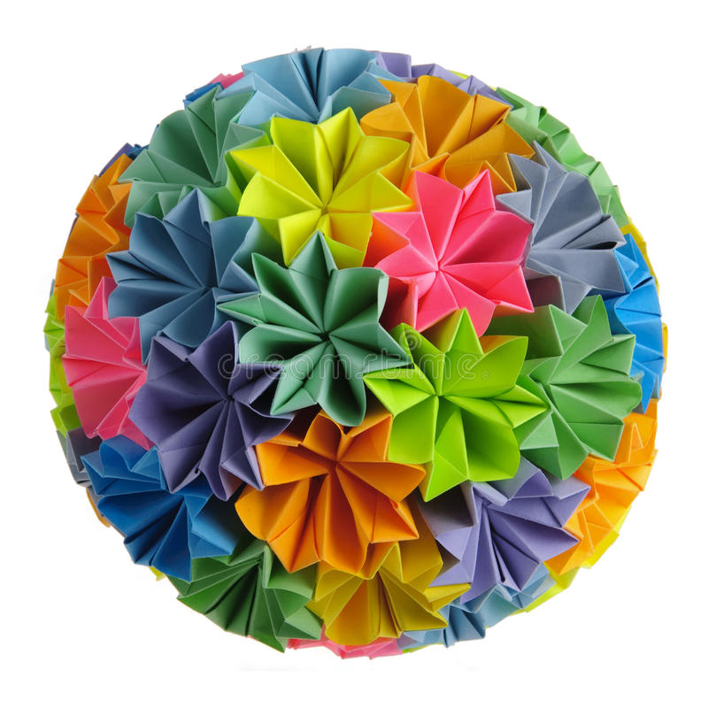Origami kusudama rainbow stock photography