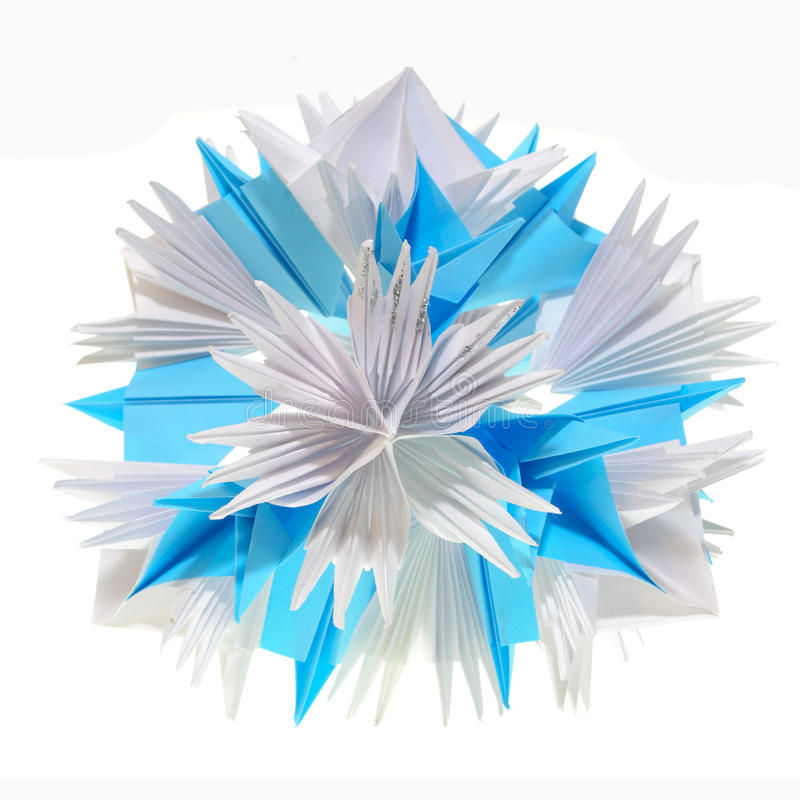 Origami kusudama snowflake stock photos