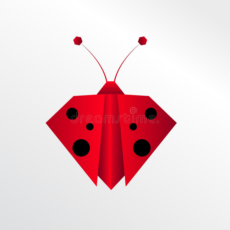 Origami ladybug. Collection colorful animal paper stock illustration
