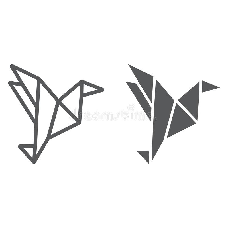 Origami line and glyph icon, geometric and asian, paper bird sign, vector graphics, a linear pattern on a white. Background, eps 10 stock illustration