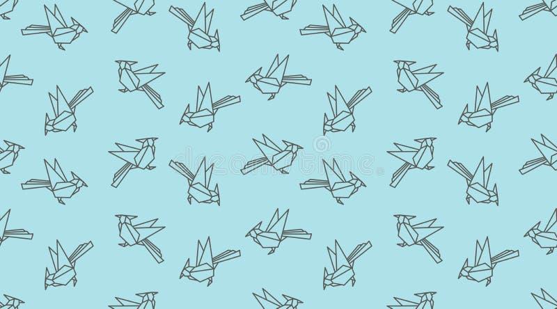 Origami linear woodpecker bird seamless pattern. Japanese outline vector ornament. stock illustration