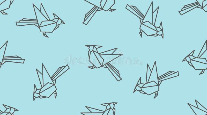 Origami liniowego dzięcioła ptasi bezszwowy wzór Japońskiego konturu wektorowy ornament ilustracja wektor