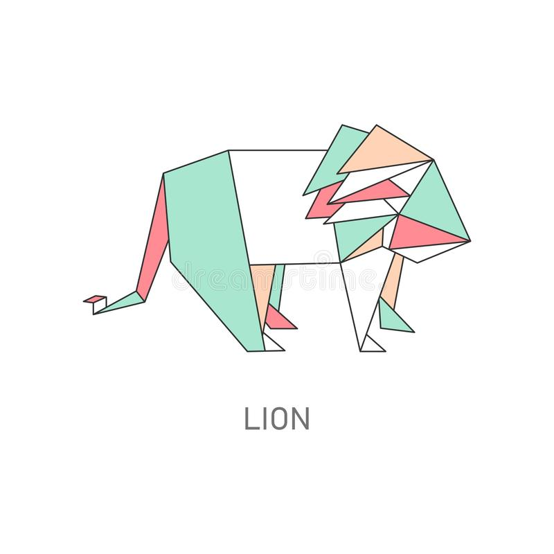 Origami of lion created in asian folded paper art cartoon vector illustration. Origami of lion created in asian folded paper art cartoon vector illustration stock illustration