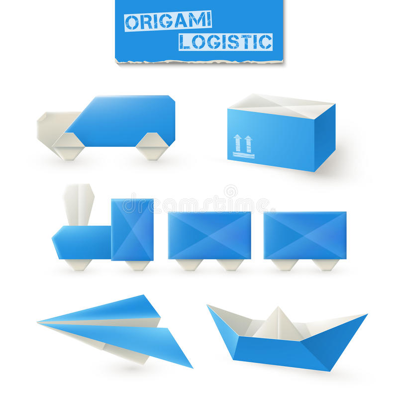 Origami Logistic Set. With paper ship plane train and box isolated vector illustration royalty free illustration