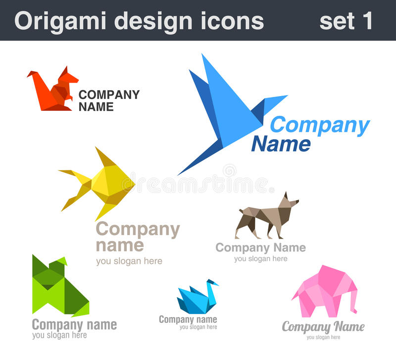 Download Origami Logo Set 1 Stock Photo - Image: 23814060
