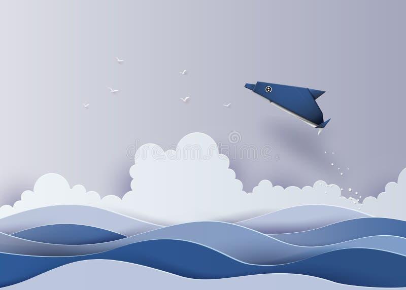 Origami machte Delphin im Meer stock abbildung