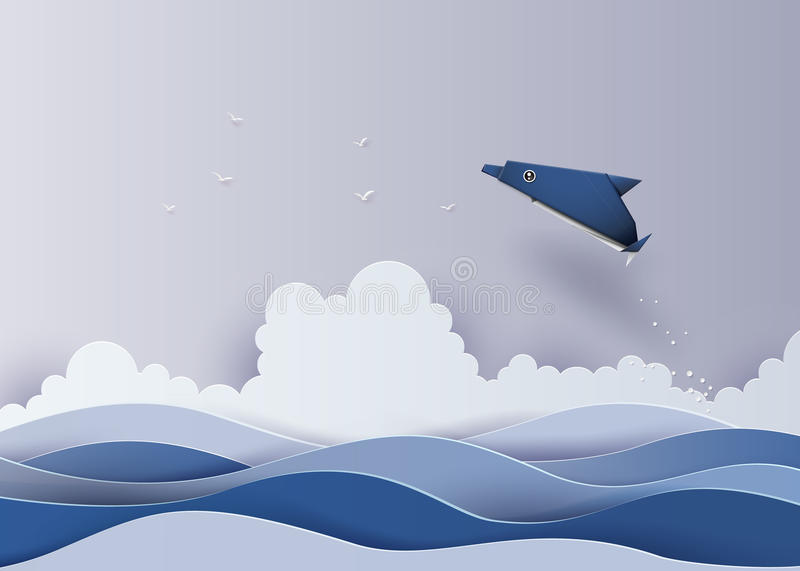 Origami made dolphin in the sea. The illustrations do the same paper art and craft style stock illustration