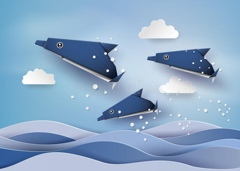 Origami made dolphin in the sea. Paper art style royalty free illustration