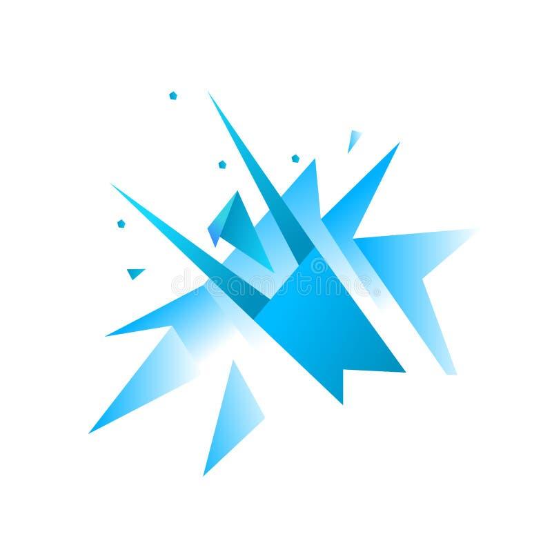 Origami man breaks through the wall. Business success. Winning breakthrough. Blue gradient. Flat vector. stock photos