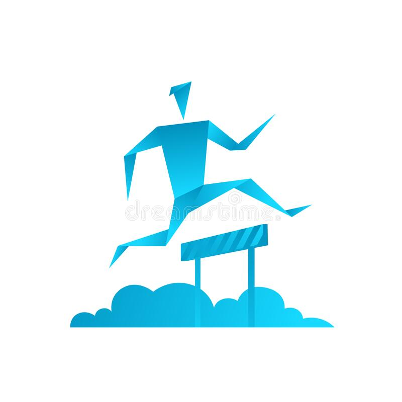 Origami man. Running with obstacles. Business competition. Barrier jump athlete. Blue gradient. Flat vector. stock image