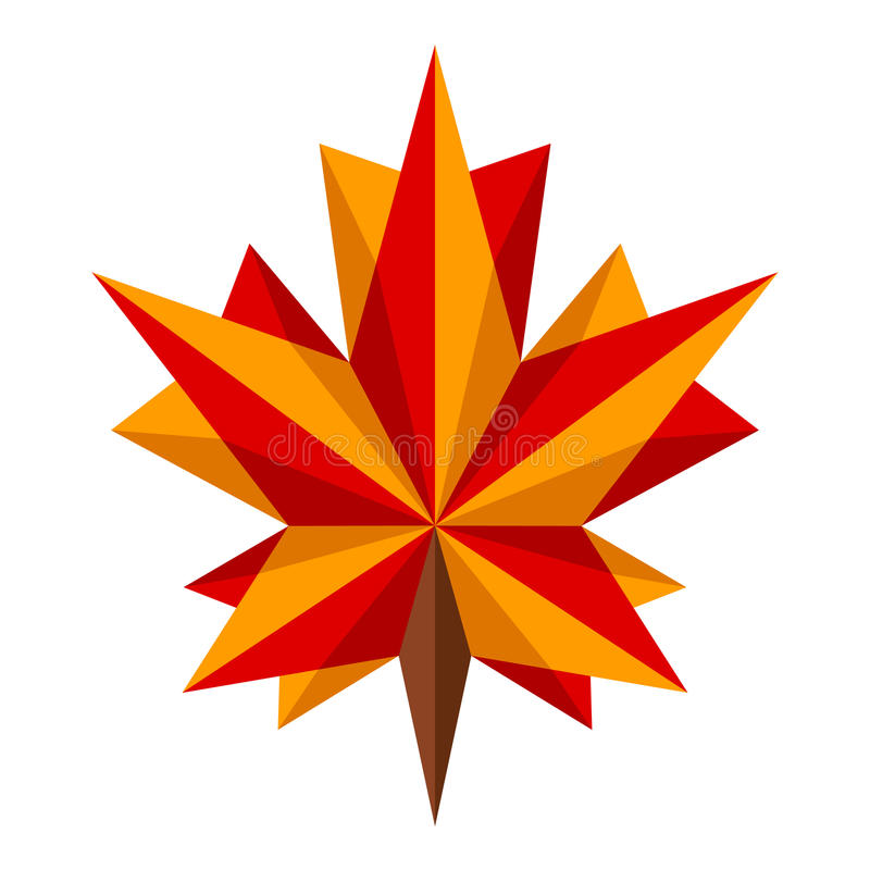 Download Origami Maple Leaf Stock Vector Illustration Of Futuristic