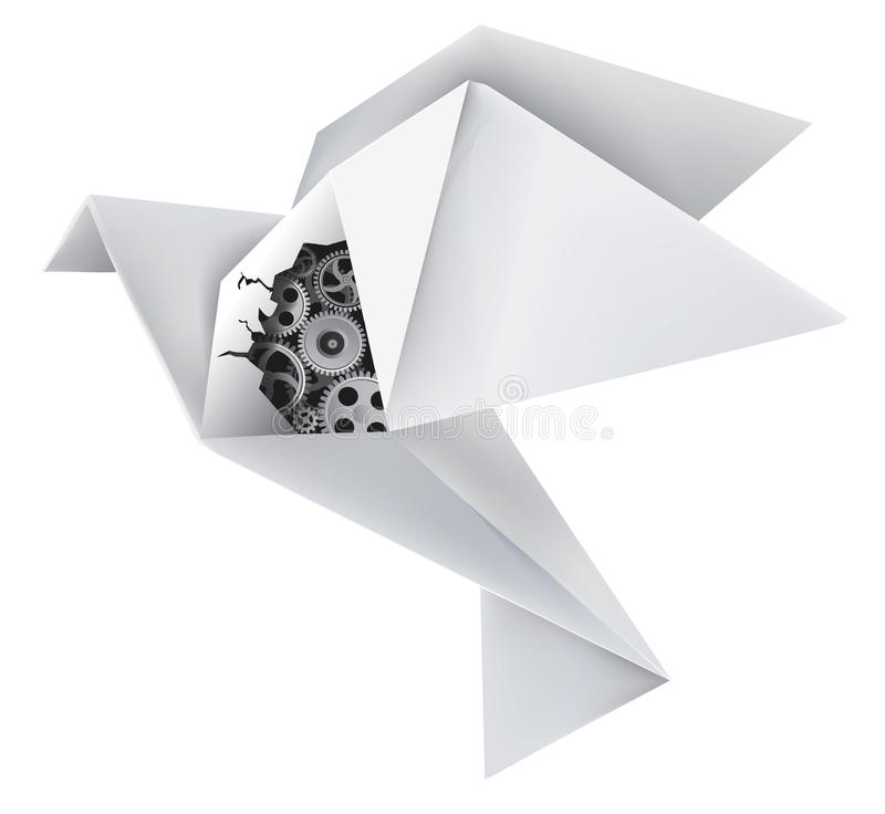 Origami mechanical pigeon. Imaginary mechanical origami pigeon with a hole in the wing, revealing gears. Vector illustration royalty free illustration