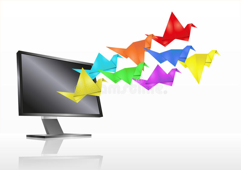Download Origami monitor stock vector. Image of front, flat, bird - 24490622