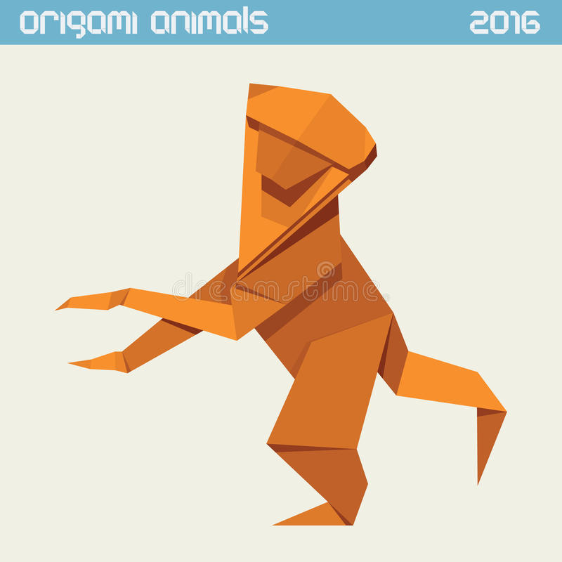 Origami monkey. Vector simple flat illustration. New Year 2016 stock illustration
