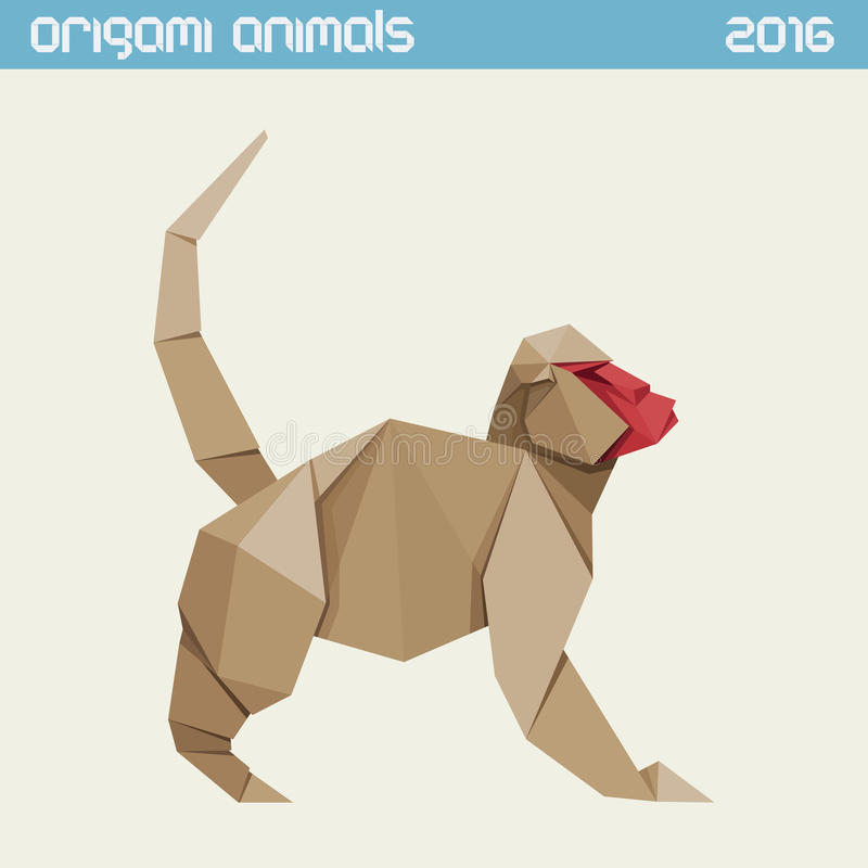Origami monkey. Vector simple flat illustration. New Year 2016 vector illustration