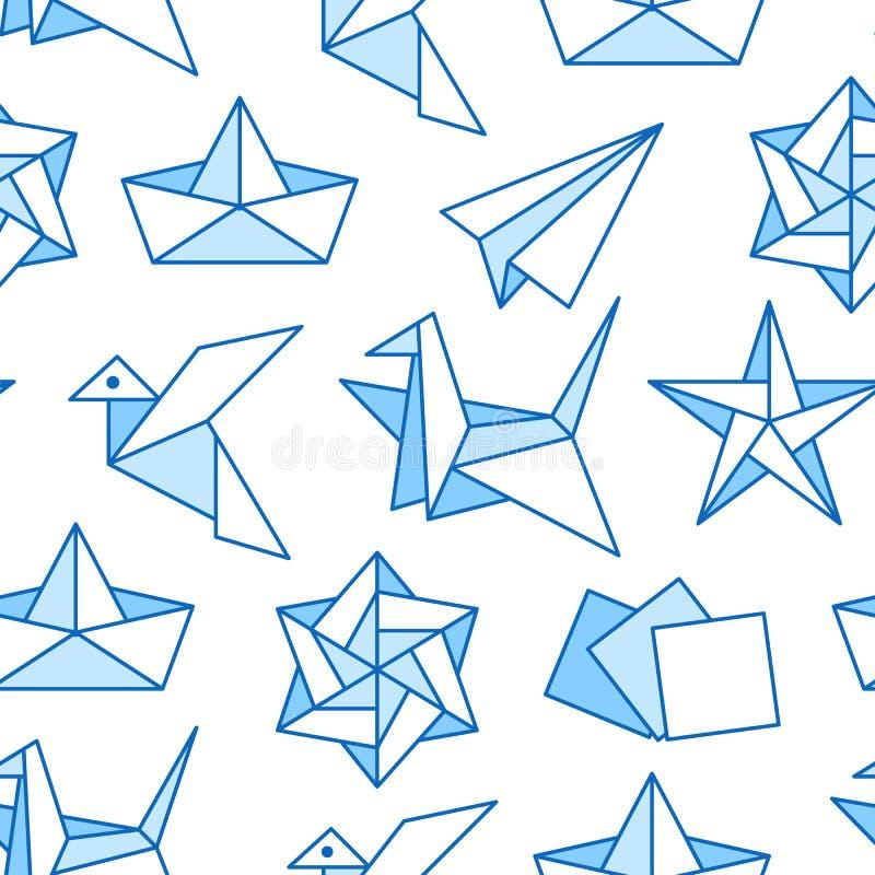 Origami naadloos patroon met vlakke lijnpictogrammen Document kranen, vogel, boot, vliegtuig vectorillustraties Gekleurde Achterg stock illustratie