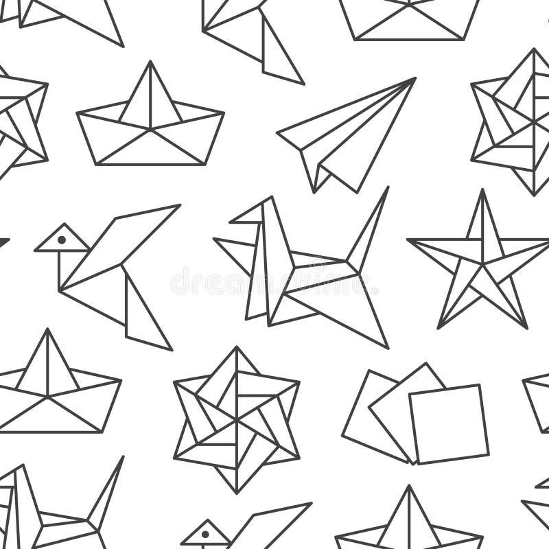 Origami naadloos patroon met vlakke lijnpictogrammen Document kranen, vogel, boot, vliegtuig vectorillustraties zwart-wit royalty-vrije illustratie