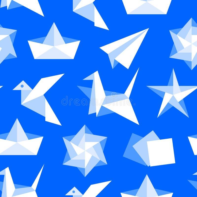 Origami naadloos patroon met vlakke pictogrammen Document kranen, vogel, boot, vliegtuig vectorillustraties Gekleurd blauw als ac stock illustratie