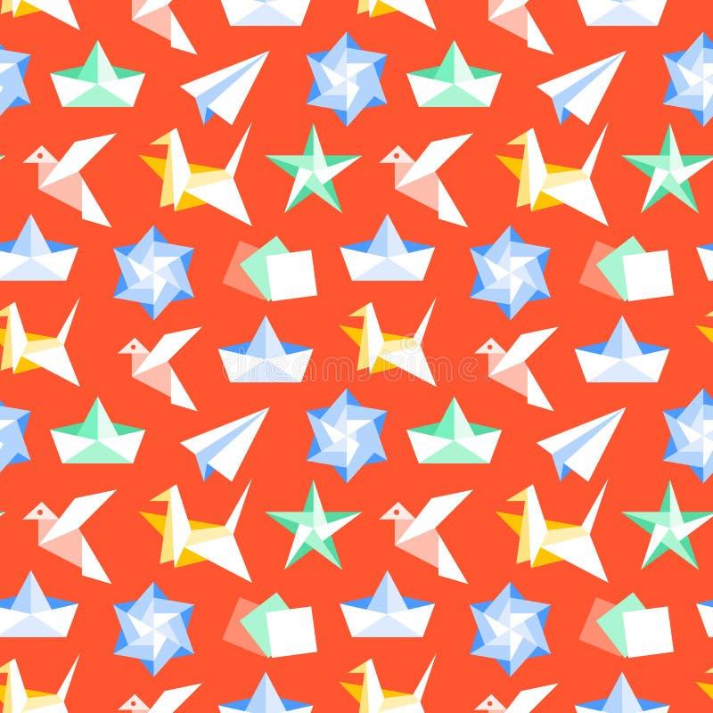 Origami naadloos patroon met vlakke pictogrammen Document kranen, vogel, boot, vliegtuig vectorillustraties Gekleurd rood als ach vector illustratie