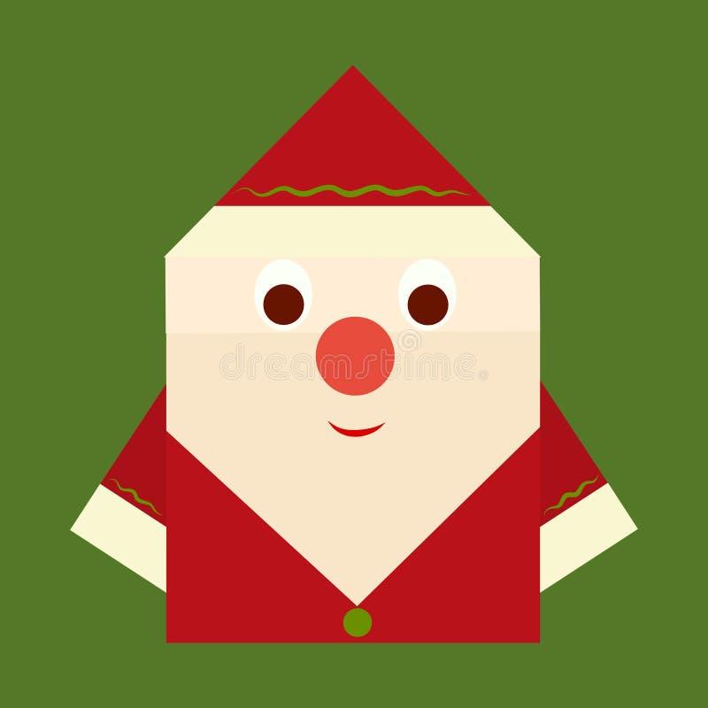 Origami nette Santa Claus auf einem grünen Hintergrund vektor abbildung