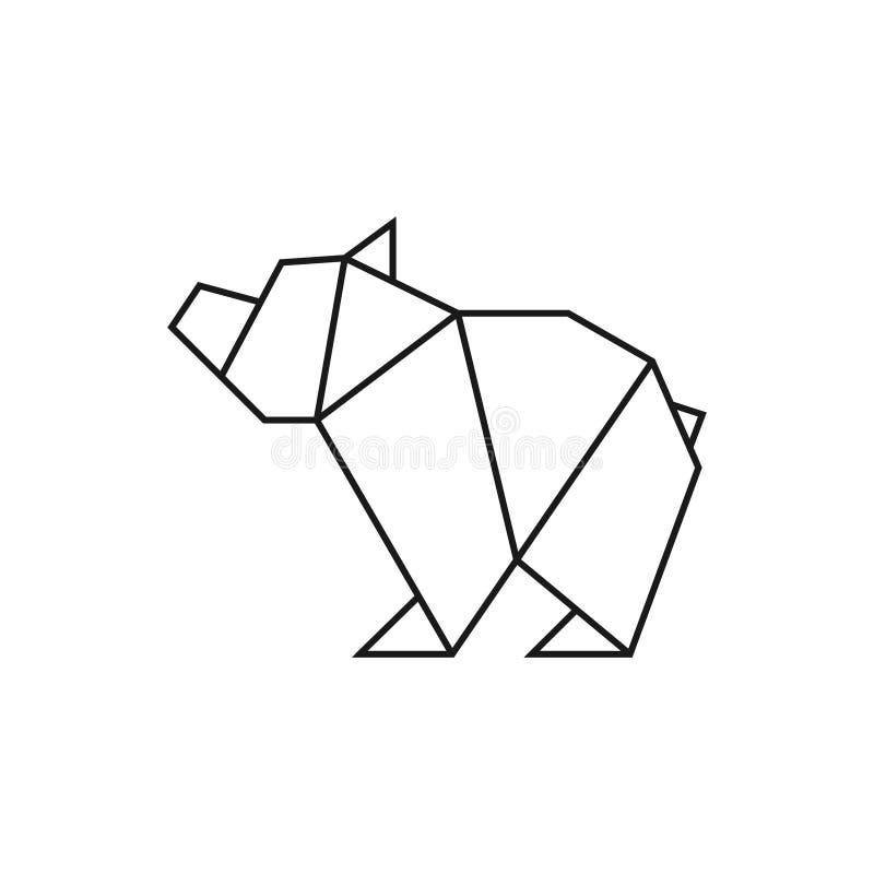 Origami niedźwiedź Geometryczny kreskowy kształt dla sztuki fałdowy papier Loga szablon wektor ilustracji