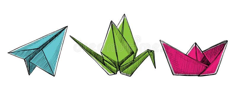 Origami nivå, kran och fartyg, utdragen grafisk illustration för vektorhand royaltyfri illustrationer