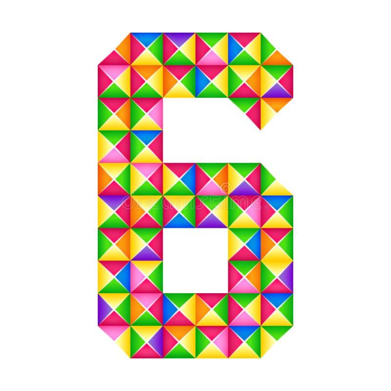 Origami nummer 6 Isolerad realistisk effekt för origami 3D Diagram av alfabetet, siffra stock illustrationer